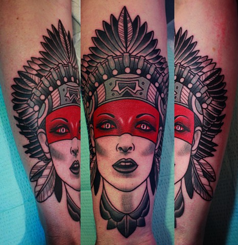 indian head tattoo by dave wah at stay humble tattoo company in baltimore maryland