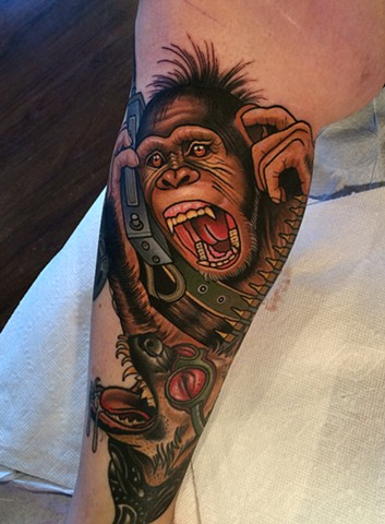 chimpanzee tattoo by tattoo artist dave wah at stay humble tattoo company in baltimore maryland the best tattoo shop in baltimore maryland