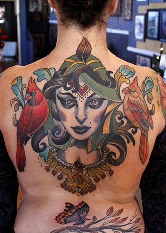 lady with birds tattoo by dave wah at stay humble tattoo company in baltimore maryland the best tattoo shop in baltimore maryland