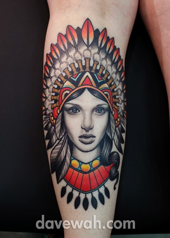 girl with indian headdress tattoo by dave wah at stay humble tattoo company in baltimore maryland the best tattoo shop in baltimore maryland