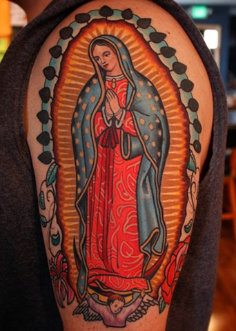 guadalupe tattoo by dave wah at stay humble tattoo company in baltimore maryland