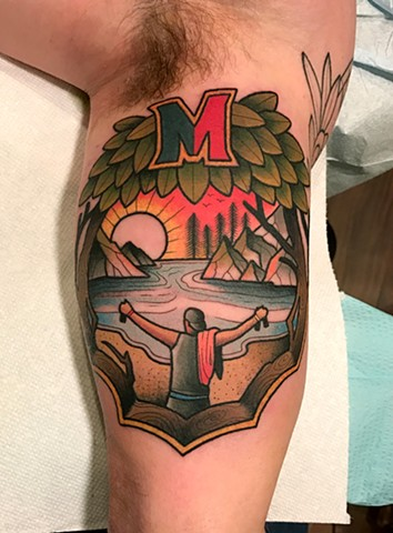 memorial landscape tattoo by tattoo artist dave wah at stay humble tattoo company in baltimore maryland the best tattoo shop in baltimore maryland