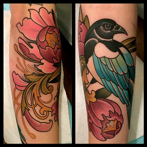 magpie tattoo by tattoo artist dave wah at stay humble tattoo company in baltimore maryland the best tattoo shop in baltimore maryland