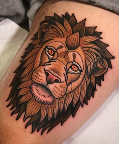 lion tattoo by dave wah at stay humble tattoo company in baltimore maryland the best tattoo shop and artist in baltimore maryland