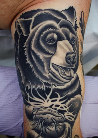 black bear tattoo by dave wah