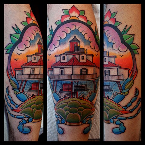 thomas point lighthouse tattoo by dave wah at stay humble tattoo company in baltimore maryland