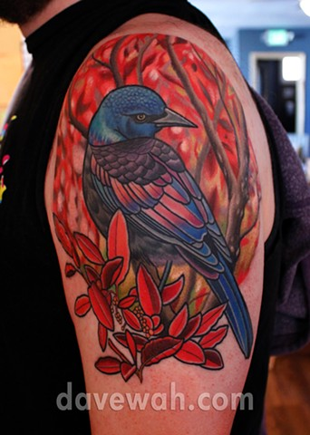 grackle bird tattoo by dave wah at stay humble tattoo company in baltimore maryland the best tattoo shop in baltimore maryland
