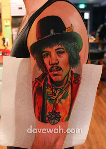 jimi hendrix tattoo by dave wah at stay humble tattoo company in baltimore maryland the best tattoo shop in baltimore maryland