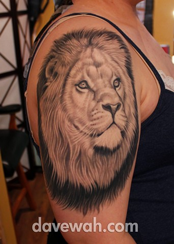 Lion tattoo by dave wah at stay humble tattoo company in baltimore maryland the best tattoo shop in baltimore maryland