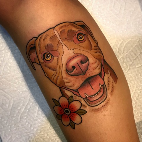dog portrait tattoo by dave wah at stay humble tattoo company in baltimore maryland the best tattoo shop and artist in baltimore maryland