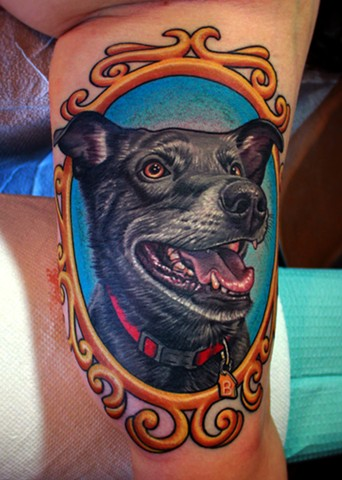 Dog portrait tattoo by dave wah at stay humble tattoo company in baltimore maryland