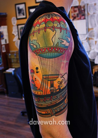 hot air balloon planet tattoo by dave wah at stay humble tattoo company in baltimore maryland the best tattoo shop in baltimore maryland