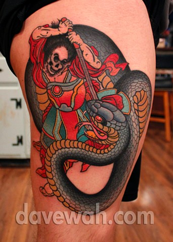 samurai tattoo by dave wah at stay humble tattoo company in baltimore maryland the best tattoo shop in baltimore maryland