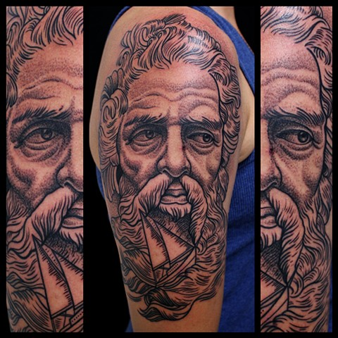 poseidon tattoo by dave wah