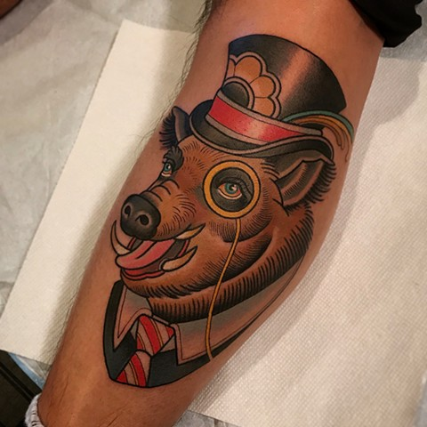 boar tattoo by dave wah at stay humble tattoo company in baltimore maryland the best tattoo shop and artist in baltimore maryland