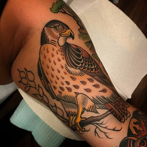 hawk tattoo by dave wah at stay humble tattoo company in baltimore maryland the best tattoo shop and artist in baltimore maryland