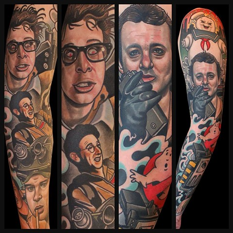 ghostbusters peter venkman bill murray tattoo by dave wah at stay humble tattoo company in baltimore maryland the best tattoo shop in baltimore maryland