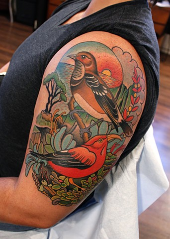 bird and landscape tattoo by dave wah at stay humble tattoo company in baltimore maryland the best tattoo shop in baltimore maryland