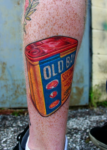 Old bay can tattoo by Dave Wah