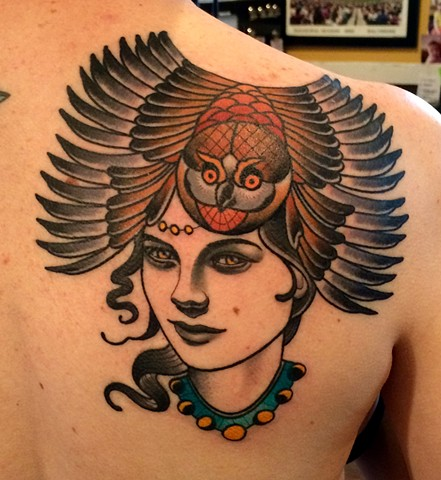 girl head with owl headdress tattoo by dave wah at stay humble tattoo company in baltimore maryland the best tattoo shop in baltimore maryland
