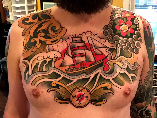 traditional ship tattoo by tattoo artist dave wah at stay humble tattoo company in baltimore maryland the best tattoo shop in baltimore maryland