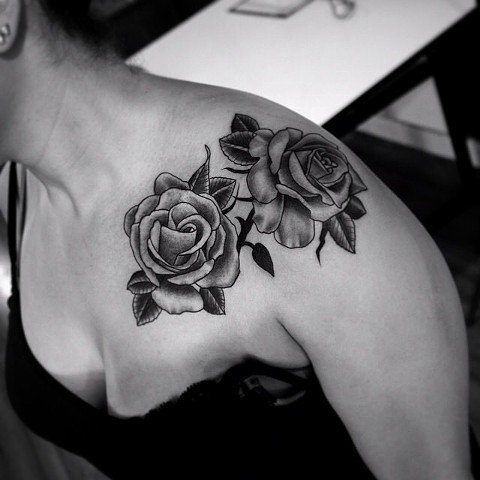rose tattoo by dave wah at stay humble tattoo company in baltimore maryland