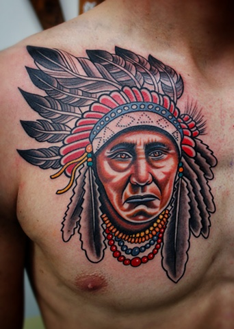native american war chief tattoo by dave wah