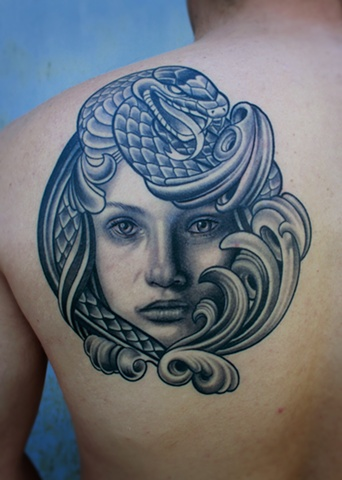 girl portrait tattoo with snake by dave wah