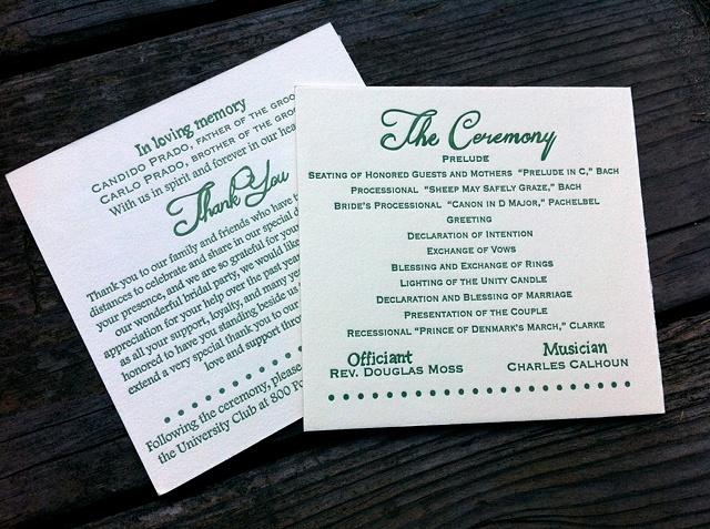 Sage Green Wedding Programs