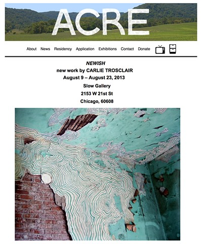 ACRE Exhibitions  Newish: new work by Carlie Trosclair Slow Gallery  2153 W 21st St.  Chicago, 60608