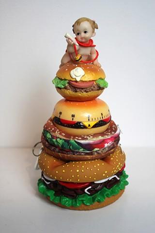 Joke #32 Hamburger Dog toy, Hamburger Wallet, Hamburger timer, Hamburger figurine, Hamburger necklace,