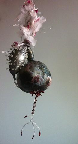 dioramic sculpture, fiberoptic diorama, vessle of love, hanging garden of earthly delights
