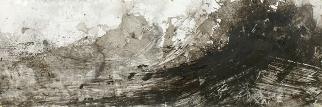 Athena LaTocha, Untitled, 2012, Sumi and India ink on paper, 36 x 108 inches, ink wash
