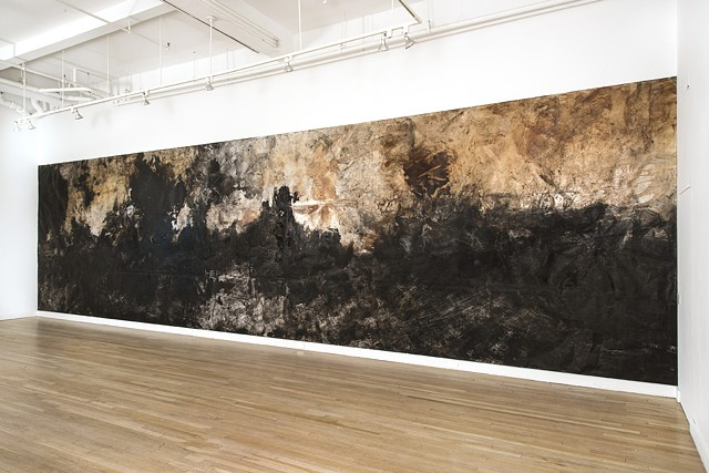 Athena LaTocha, %Untitled%, 2015, Sumi and walnut ink, shellac on paper, 124 x 452 inches. Installation view: CUE Art Foundation, New York, NY. Photo by Joshua Nefsky