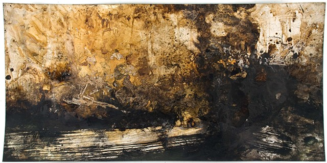 Athena LaTocha, Untitled, 2015, Sumi and walnut ink and shellac on paper, 17 x 33 3/4 inches, ink wash