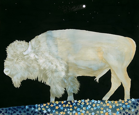 bathed in comet light (white buffalo)