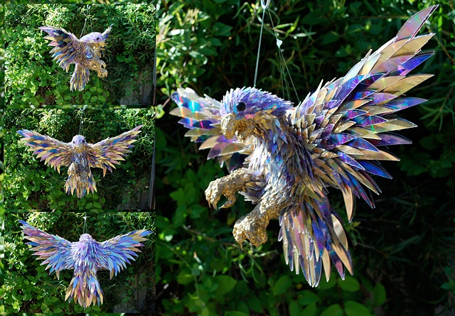 sean e avery cd sculpture mixed media sculpture shiny sculpture Peregrine falcon