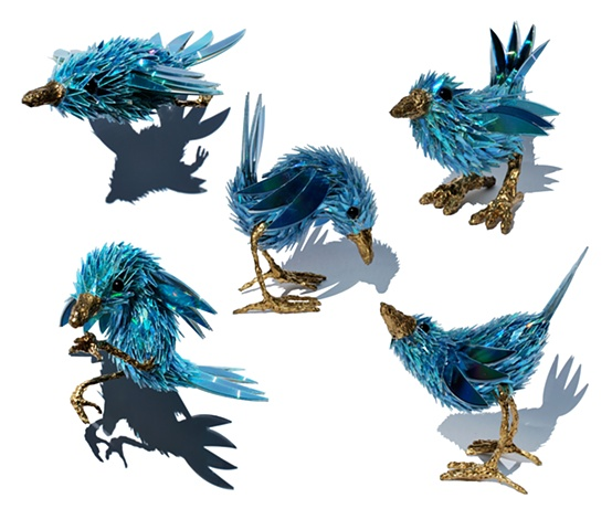 sean e avery cd sculpture mixed media sculpture shiny sculpture the blue wren cd fragment art