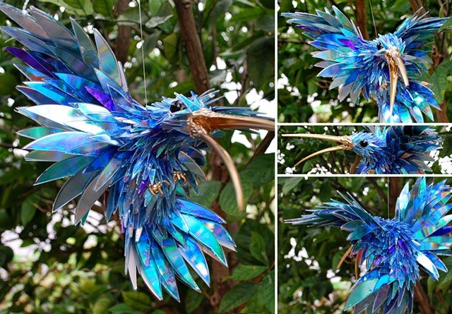 Sean e avery cd sculpture sustainable sculpture recycled sculpture hummingbird