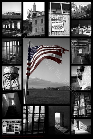 Alcatraz Island, San Francisco CA. Digital montage B&W + Color printed on metal