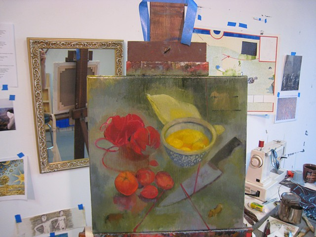 At the easel Studio in Zhou B. Chicago