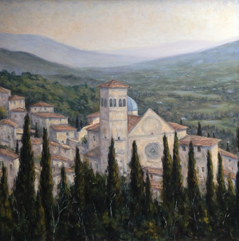 Assisi, St. Francis, oil painting, Catholic art