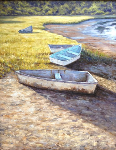 boats, painting, oil, carrie mitchell,