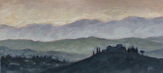 """Tuscan Village at Dusk"""