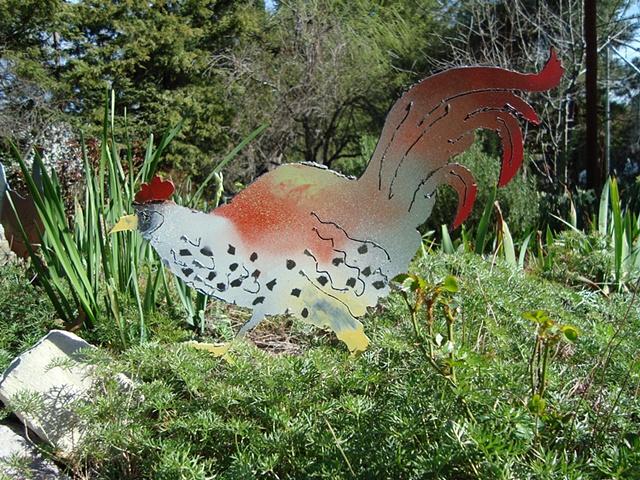 Cut steel banty rooster