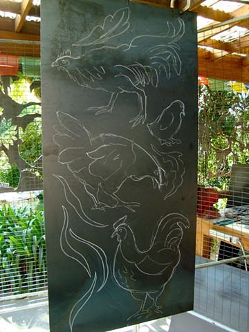 "Drawing with chalk on plate steel, getting ready to ""cut""~~"