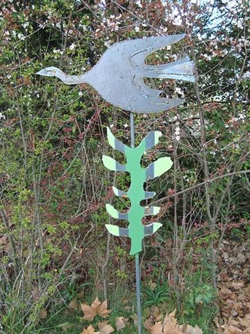 Bird & striped leaf