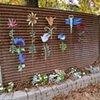 Various steel pieces against a lovely steel wall in Fair Oaks, California