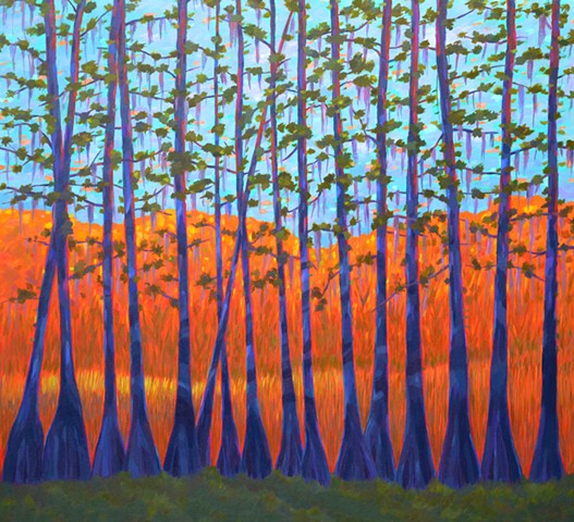 Tripping on Trees painted by Florida Artist Gary Borse is available at Lombard Contemporary Art Orlando Florida