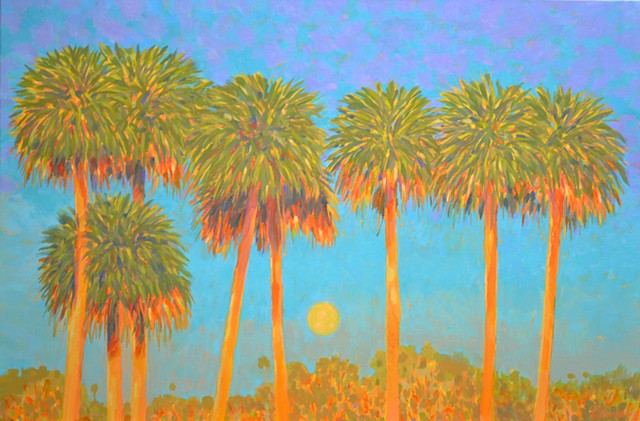 Sunset Moonrise by Florida Artist Gary Borse is available at Lombard Contemporary Art at the Hyatt Grand Cypress Hotel in Orlando, FL